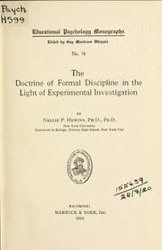 Cover of: The doctrine of formal discipline in the light of experimental investigation by Nellie Priscilla Hewins