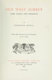 Cover of: Old west Surrey by Gertrude Jekyll