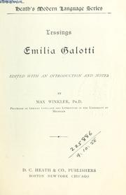 Cover of: Emilia Galotti by Gotthold Ephraim Lessing