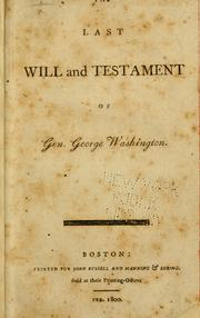 Cover of: Will of General George Washington by George Washington