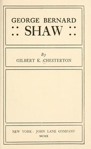 Cover of: George Bernard Shaw by G. K. Chesterton