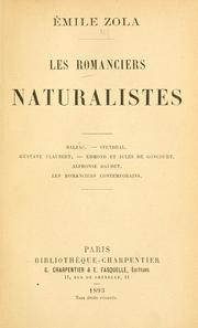 Cover of: Les romanciers naturalistes by Émile Zola