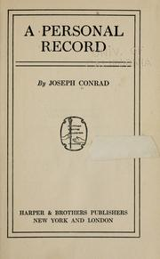 Cover of: A personal record by Joseph Conrad