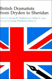Cover of: British dramatists from Dryden to Sheridan by George Henry Nettleton