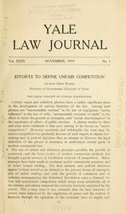 Efforts to Define Unfair Competition ... Haines, Charles Grove
