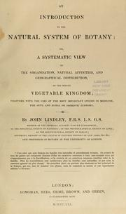 Cover of: An introduction to the natural system of botany by John Lindley