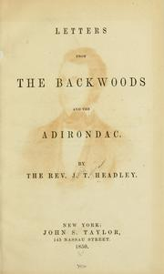 Cover of: Letters from the backwoods and the Adirondac by Joel Tyler Headley