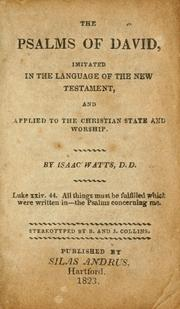 Cover of: The Psalms of David by Watts, Isaac