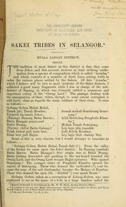 Cover of: Sakei tribes in Selangor by Walter W. Skeat