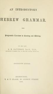 Cover of: An introductory Hebrew grammar by Davidson, A. B.