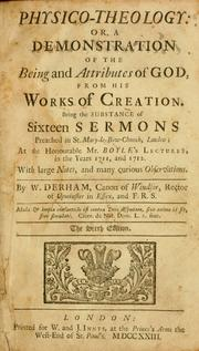 Cover of: Physico-theology by W. Derham