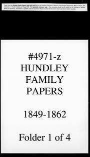 Cover of: Hundley family papers by Hundley family.