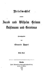 Cover of: Briefwechsel zwischen Jacob und Wilhelm Grimm, Dahlmann und Gervinus by Brothers Grimm
