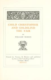 Cover of: Child Christopher and Goldilind the Fair by William Morris