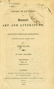 Cover of: Vorlesungen ber dramatische Kunst und Litteratur by Schlegel, August Wilhelm von