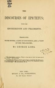 Cover of: The discourses of Epictetus by Epictetus