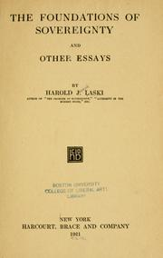 Cover of: The foundations of sovereignty, and other essays by Harold Joseph Laski