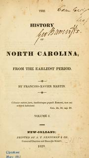 Cover of: The history of North Carolina by François-Xavier Martin