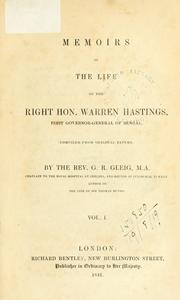 Cover of: Memoirs of the life of the Right Hon. Warren Hastings by G. R. Gleig