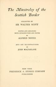 Cover of: Minstrelsy of the Scottish border by Sir Walter Scott