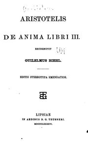 Cover of: De anima libri III by Aristotle