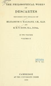 Cover of: Philosophical works by René Descartes