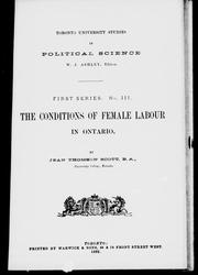 Cover of: The conditions of female labour in Ontario by Jean Thomson Scott