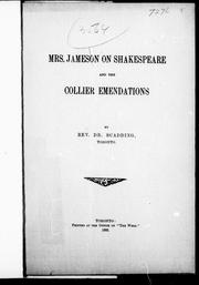 Cover of: Mrs. Jameson on Shakespeare and the Collier emendations by Henry Scadding