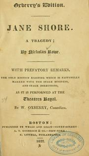 Cover of: The Tragedy of Jane Shore by Rowe, Nicholas