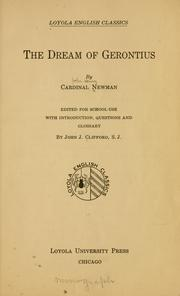 Cover of: The dream of Gerontius | John Henry Newman