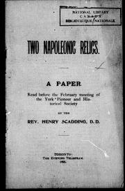 Cover of: Two Napoleonic relics by Henry Scadding