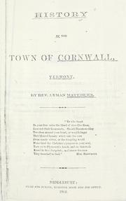Cover of: History of the town of Cornwall, Vermont by Lyman Matthews