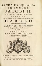 Cover of: Sacra exequialia in funere Jacobi II by Carlo d' Aquino