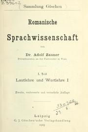 Cover of: Romanische Sprachwissenschaft by Adolf Zauner