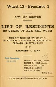 Cover of: List of residents. [title may vary] by Boston (Mass.). Election Dept.
