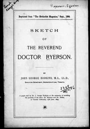 Cover of: Sketch of the Reverend Doctor Ryerson by J. George Hodgins