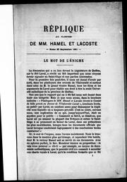 Cover of: Réplique aux plaidoyers de MM. Hamel et Lacoste by F. X. A. Trudel