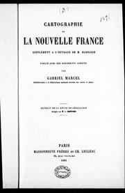 Cover of: Cartographie de la Nouvelle France by Marcel, Gabriel