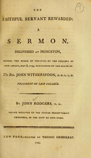 Cover of: The faithful servant rewarded by John Rodgers