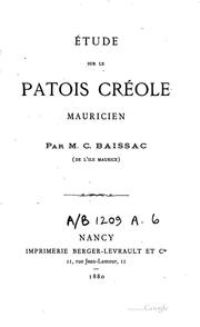 Tude sur le patois cr ole mauricien open library for Creole mauricien