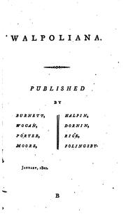 Cover of: Walpoliana by Horace Walpole