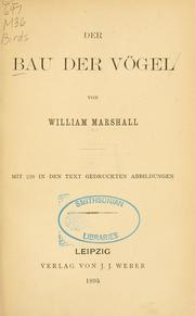 Cover of: Der Bau der Vögel by William Marshall