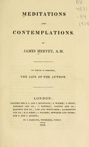 Cover of: Meditations and contemplations by Hervey, James