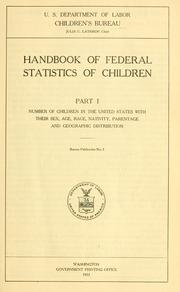 Cover of: Handbook of federal statistics of children by United States. Children's Bureau.