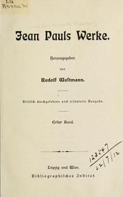 Cover of: Werke by Jean Paul
