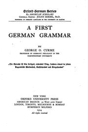 Cover of: A First German Grammar by George Oliver Curme