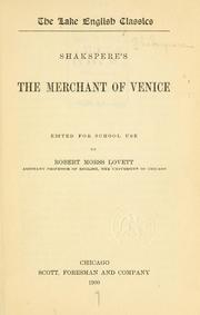 Cover of: Shakespere's The merchant of Venice by William Shakespeare