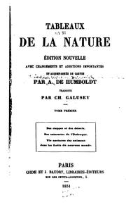 Cover of: Tableaux de la nature by Alexander von Humboldt