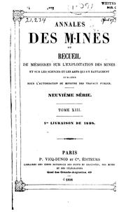Cover of: Annales des mines by France Commission des Annales des mines