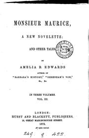 Cover of: Monsieur Maurice, and other tales by Amelia Ann Blanford Edwards